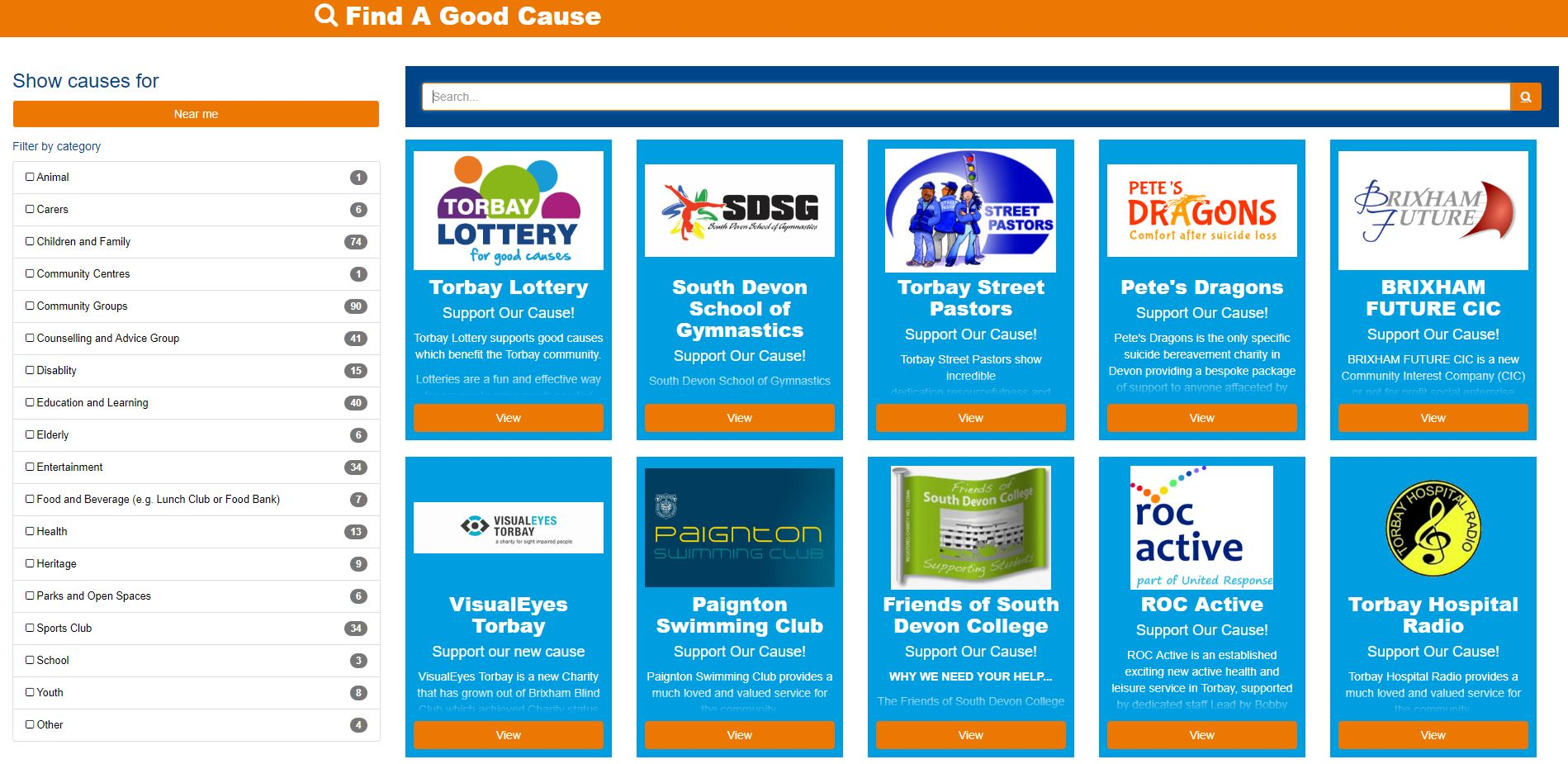 Torbay Lottery Launches New Category Search